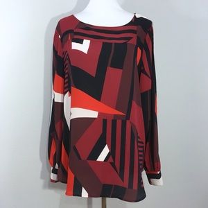 Ann Taylor LOFT Geometric Abstract Print Blouse M